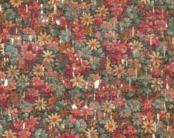 Cork 3-4-5 or 6 sq ft MEADOW of WILD FLOWERS on Natural Cork on Cowhide leather for body/strength Thick 5oz/2mm PeggySueAlso™ E5610-23