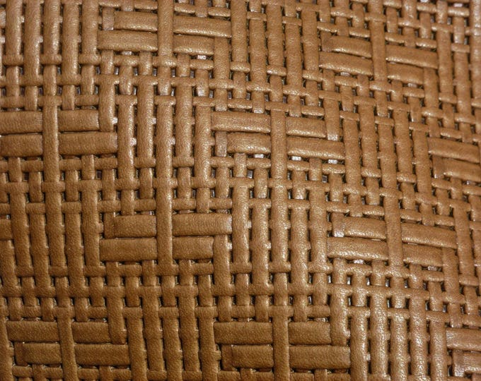 "Leather 12""x12"" Panama Just BROWN Basket Weave Embossed Cowhide 2-2.5 oz/0.8-1 mm PeggySueAlso™ E8000-06"