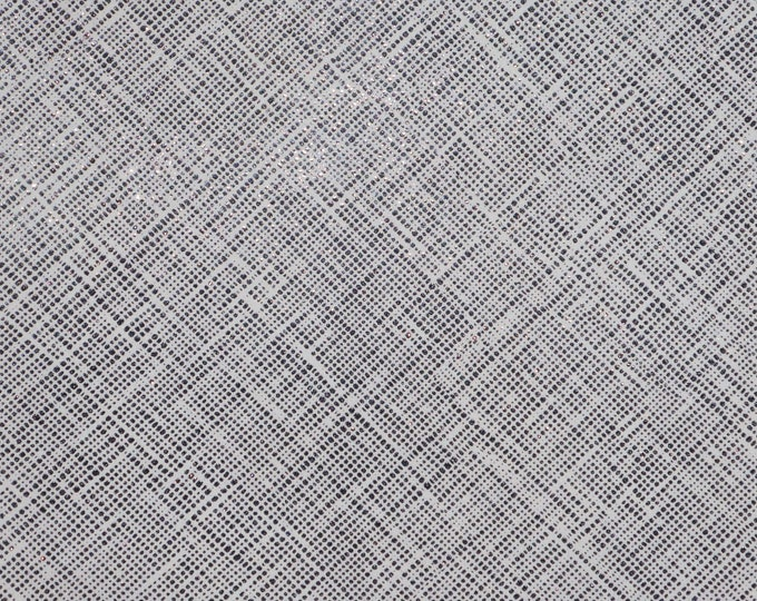 "Leather 12""x12"" Saffiano look TWO TONE BLACK Glitter on white Linen Weave Very Soft Cowhide 3-3.5 oz/ 1.2-1.4 mm PeggySueAlso™ E8201-29"