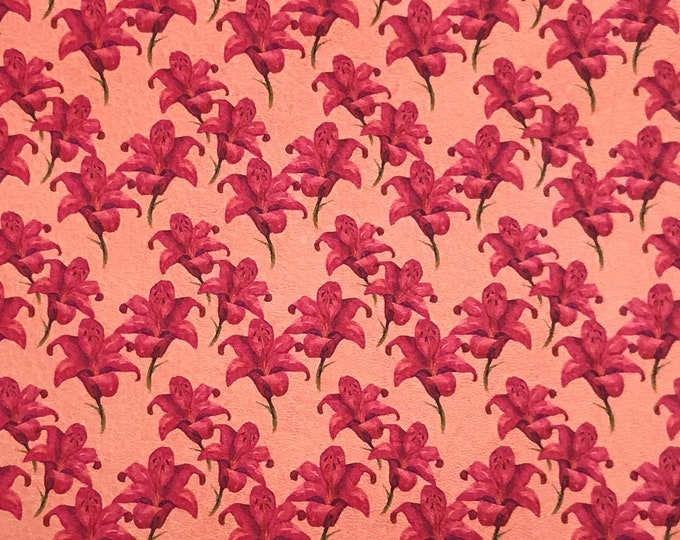 """NEW Leather 8""""x10"""" Amaranth Pink Orchids on Coral (Coral Suede Backside) Cowhide 3-3.25 oz/1.2-1.3 mm PeggySueAlso™ E1093-01 hides too"""