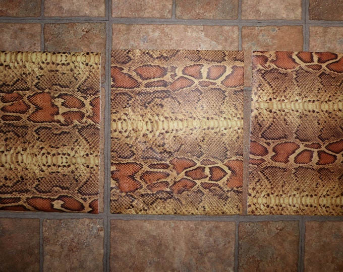 """Leather CLOSEOUT 3 pieces 8""""x10"""" Flawed Orange Yellow Brown SNAKE Pattern Cowhide 2.25-2.5 oz / .9-1mm #453 PeggySueAlso™ E2855"""