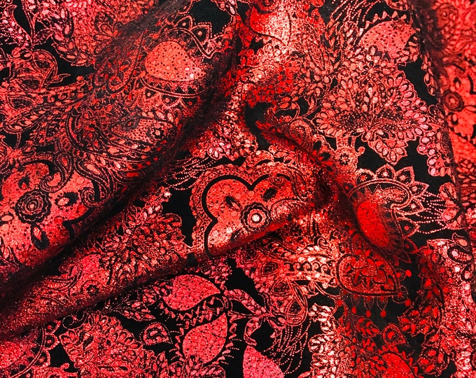 Metallic Leather 3-4-5 or 6 sq ft Paisley Love Rose RED / Black Soft Suede Cowhide  3-3.25 oz /1.2-1.3 mm PeggySueAlso™ E3110-08