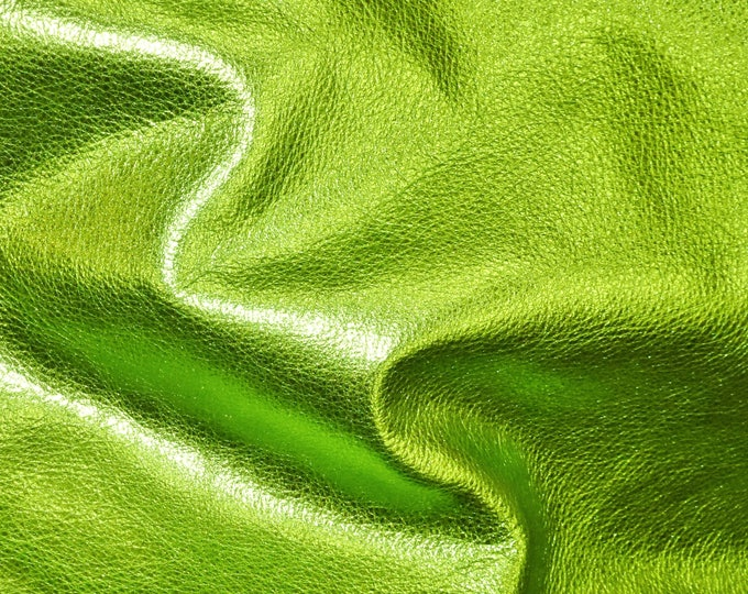 LIME GREEN Pebbled Metallic 3 or 4 or 5 or 6 sq ft cut off hide - shows the grain cowhide Leather 2.5-3 oz / 1-1.2 mm PeggySueAlso™ E4100-16