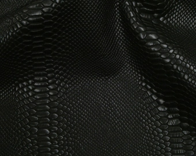 "Leather 20""x20"" BLACK TWISTER Snake Heavily Textured Embossed Slight shine Cowhide 4-4.25 oz / 1.4-1.5 mm PeggySueAlso™ E1546-01 Trial"