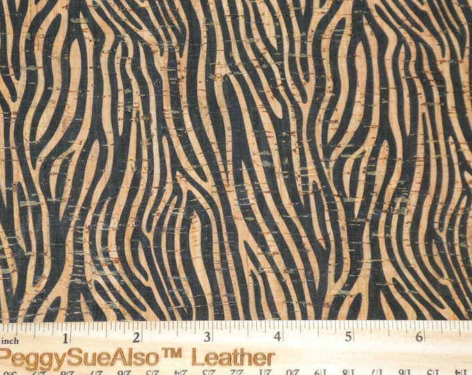 "Cork Genuine Leather 5""x11"" Tiny ZEBRA print on Natural CORK applied to Cowhide for body/strength Thick 5oz/2mm PeggySueAlso™ E5610-26"