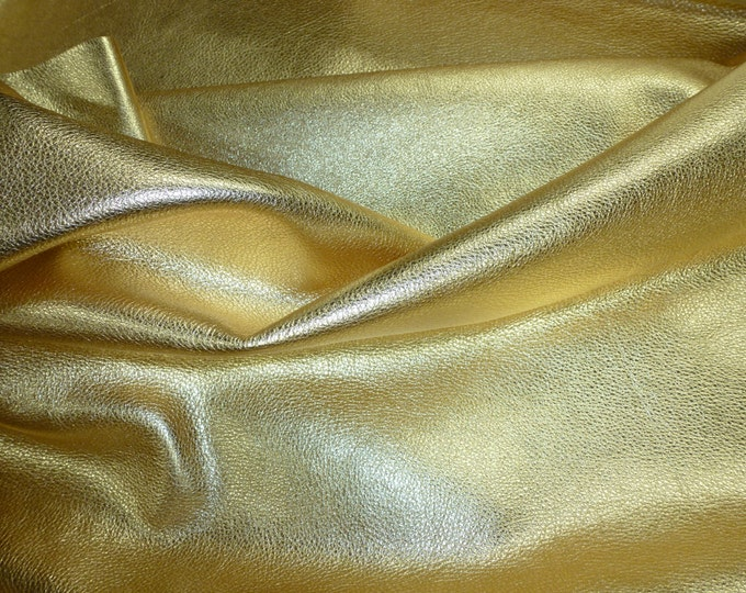 """Metallic Leather 12""""x12"""" Pebbled GOLD shows the grain SOFT Cowhide 3-3.25 oz / 1.2-1.3 mm PeggySueAlso™ E4100-05"""