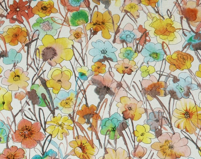"""CLOSEOUT Leather 5""""x11"""" YELLOW FIELD of Flowers on off White full grain Cowhide 2.5-2.75 oz/ 1-1.1 mm #510 PeggySueAlso™ E1130-06"""