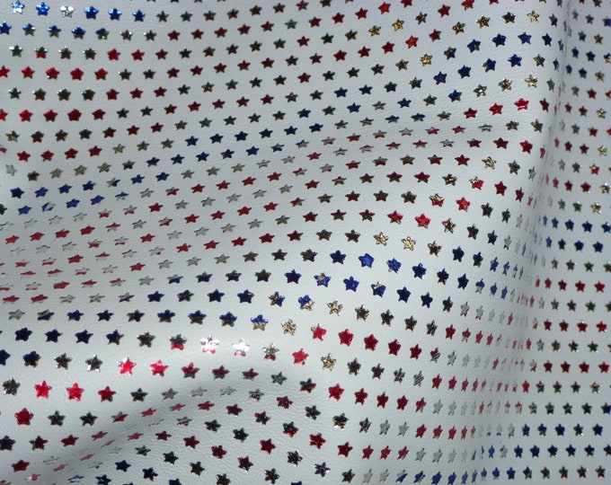 """Leather 12""""x12"""" Tiny Stars Stripes on WHITE Firmer-No Pebbling-Smooth 4 stars per in. 3.5-4oz/1.4-1.6 mm PeggySueAlso™ E2750-01"""