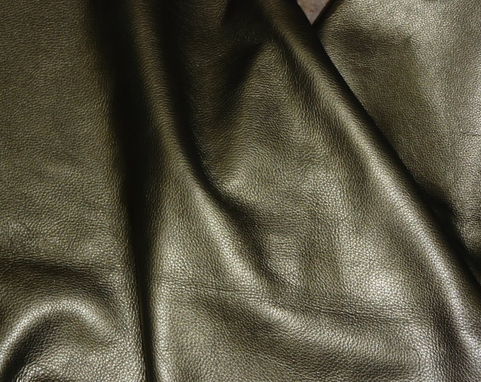 """Leather CLOSEOUT 5""""x11"""" Muted Gold / PEWTER Pearlized Soft Cowhide 3.5-4 oz/1.4-1.6 mm #719 PeggySueAlso™ E2970-02"""