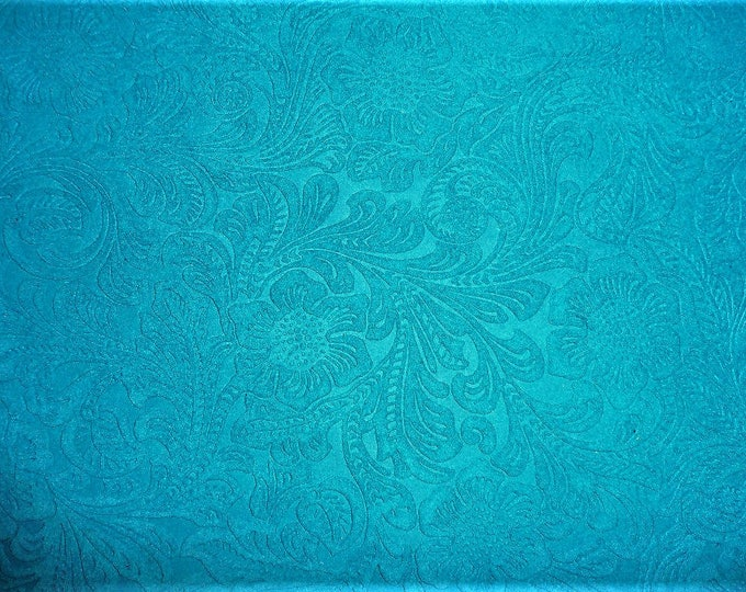 """Suede Leather 5""""x11"""" Etched Turquoise DAISY Floral Pressed Design Matte Cowhide #210 3.5 oz / 1.4 mm PeggySueAlso"""