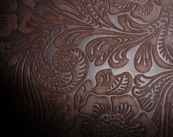 """Suede Leather 20""""x20"""" Etched DAISY Rich Chocolate Brown Floral Matte Cowhide 3.5-3.75 oz/1.4-1.5 mm PeggySueAlso™ E2875-02"""