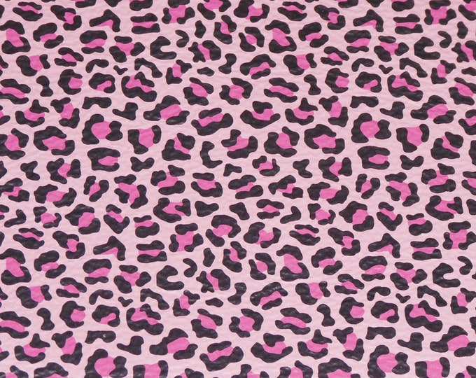 """Leather 8""""x10"""" Exotic PINK and BLACK Leopard spots on Baby PINK Cowhide 3-3.5 oz/1.2-1.4 mm PeggySueAlso™ E2550-45 Hides Available"""