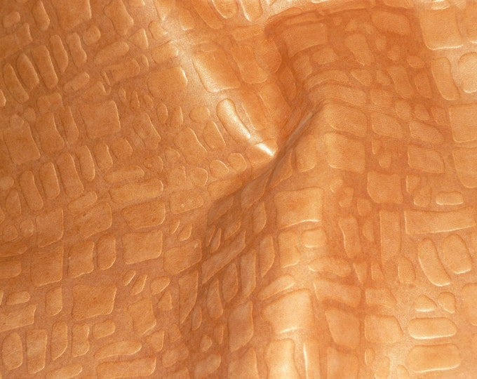 """Leather 12""""x12"""" Giraffe Pearlized GOLDEN TOPAZ embossed Cowhide  2-2.5 oz / .8-1mm PeggySueAlso™ E2095-05 Limited"""