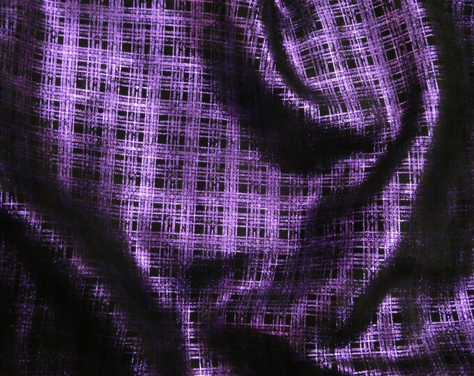 "Leather 12""X12"" METALLIC PLAID - PURPLE on Black Cowhide 3.5 oz / 1.4 mm PeggySueAlso™ E6529-05 hides available"