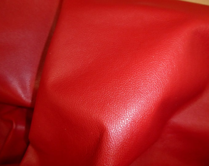 "Leather 8""x10"" Divine BRIGHT RED top grain Cowhide 2.5 oz / 1mm PeggySueAlso™ E2885-22  Full hides available"