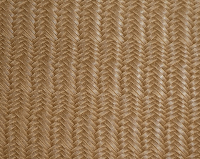 "Leather 8""x10"" Braided ITALIAN Fishtail CAMEL / Dark Beige Cowhide 2.5-3 oz /1-1.2 mm PeggySueAlso™ E3160-73 hides available"