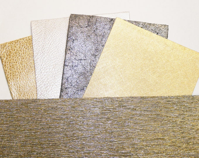 "Discounted MATCHED LEATHER 5 Pieces - 1 - 5""x11"" Silver Gold Blended GLITTER Metallic Fabric w/Leather back and 4 matching colors - Cowhide"