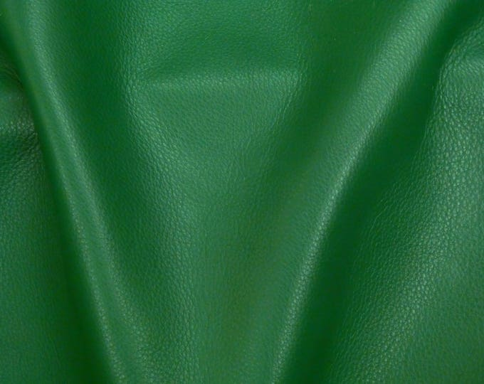 "Leather 12""x24"" KING Kelly GREEN full grain Cowhide 3-3.5 oz / 1.2-1.4mm PeggySueAlso™ E2881-27 Hides available"