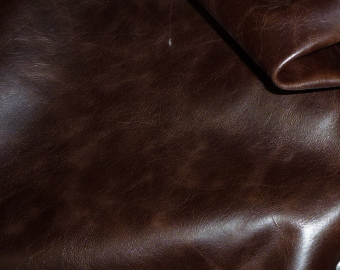 "Leather 8""x10"" RIVIERA Pull Up effect DARK CHOCOLATE Brown aniline dyed Cowhide 2.5-3 oz /1-1.2 mm PeggySueAlso™ E2932-04"