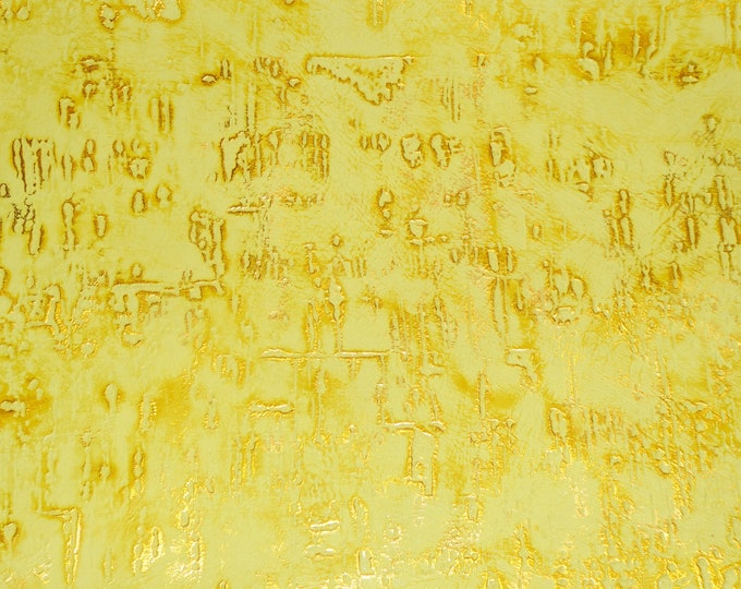 """Leather 12""""x12"""" WILDWOOD Canary YELLOW with GOLD Metallic Embossed Cowhide 2-2.5 oz/ 0.8-1 mm PeggySueAlso™ E3839-15"""