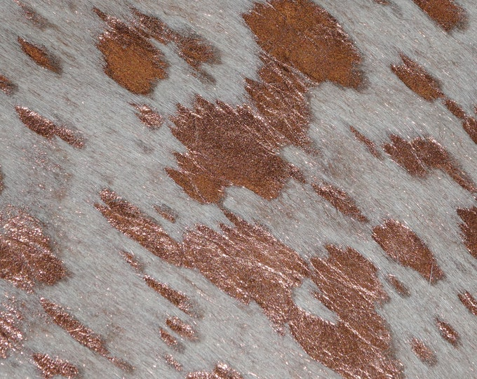 "Metallic Leather 12""x12"" Acid Wash ROSE GOLD Metallic Hair On Cowhide 4-5oz / 1.6-2 mm hoh PeggySueAlso™ E2852-17"