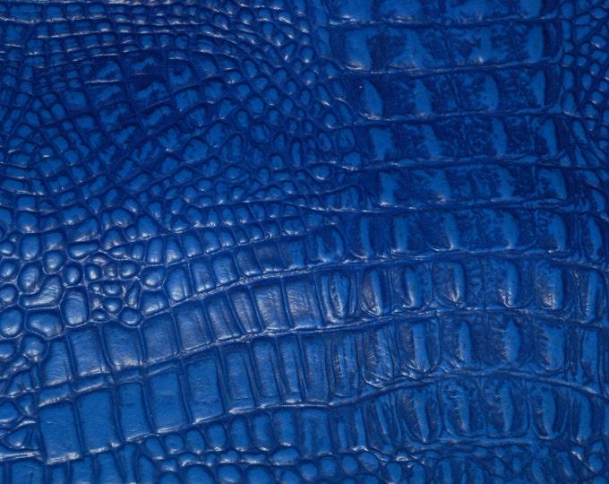 "Leather 5""x11"" Dark ROYAL Blue ALLIGATOR / Crocodile croc gator Embossed Cowhide 3-3.5 oz/ 1.2-1.4 mm PeggySueAlso™"