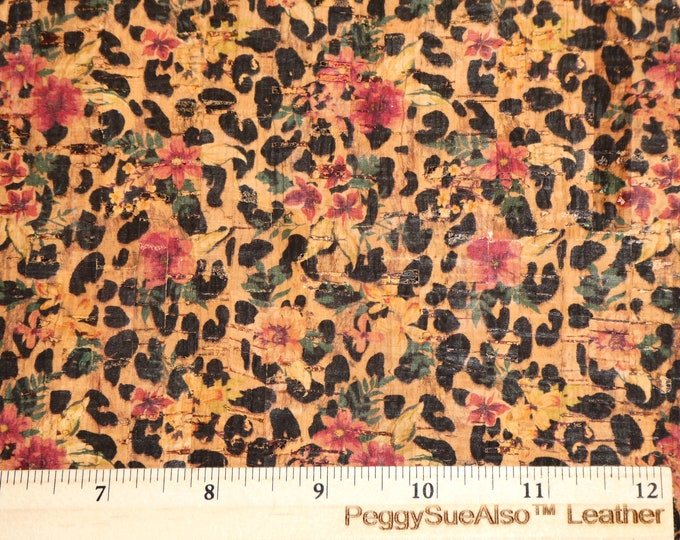 """Cork 12""""x12"""" Coral Yellow Pink FLOWERS over LEOPARD on NATURAL Cork applied to real leather Thick 5.5oz/2.2 mm PeggySueAlso™ E5610-196"""