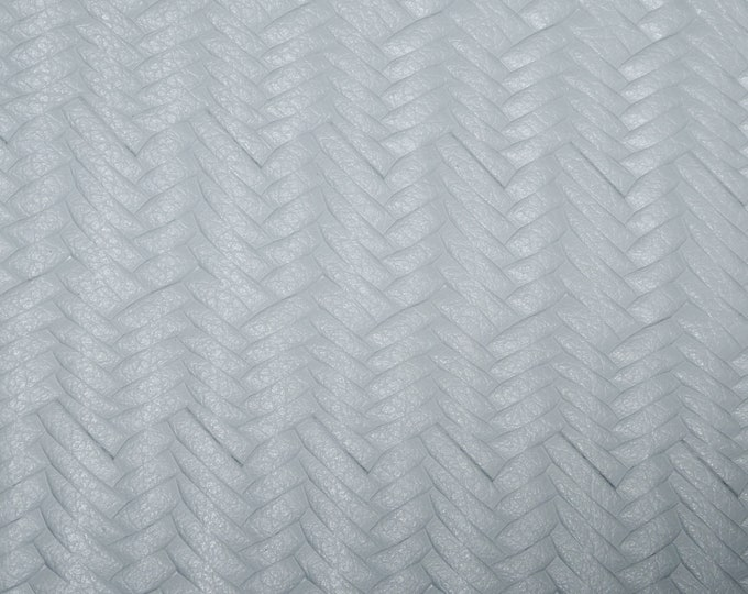 "Leather 8""x10"" Braided ITALIAN Fishtail CLOUD GRAY Grain Cowhide (see description) 3-3.5 oz / 1.2-1.4 mm PeggySueAlso™ E3160-25 hides too"