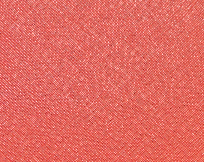 "Leather 12""x12"" Saffiano LIVING CORAL Weave Embossed Cowhide 2.5-3oz/ 1-1.2mm PeggySueAlso™ E8201-45 hides available"