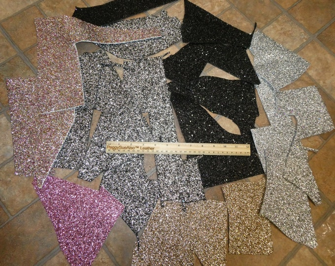 CHUNKY GLITTER Scrap Leather 4 sq ft overall Assorted colors FREE Priority Shipping 2.5-3 oz/1-1.2 mm PeggySueAlso™ E4355
