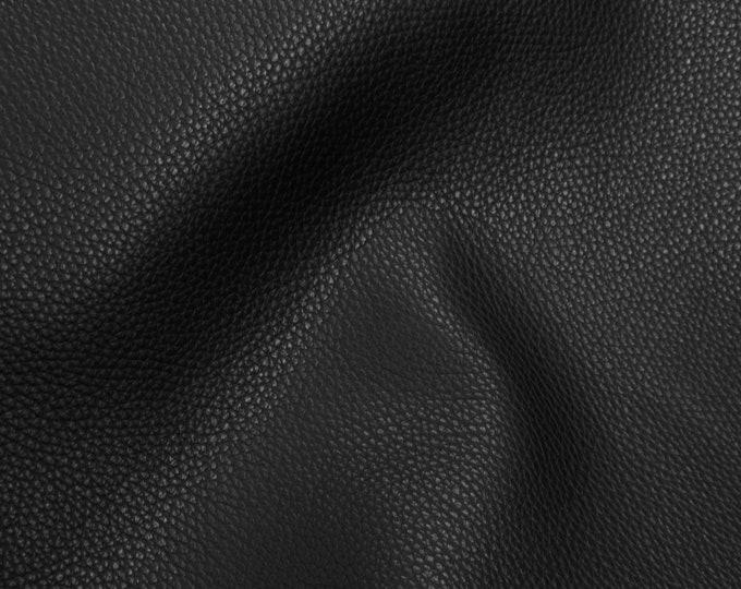 """NEW Leather 12""""x12"""" Imperial BLACK Fully Finished Pebble Grain THICK but soft Italian Cowhide 3.75-4oz/1.5-1.6mm PeggySueAlso™ E3205-09"""