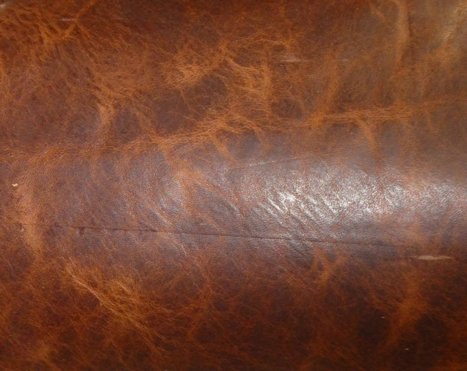 "Leather 8""x10"" Pull Up AGED BRANDY More Distressed Cowhide 3.5oz / 1.4  mm PeggySueAlso™ E2930-03 hides available"