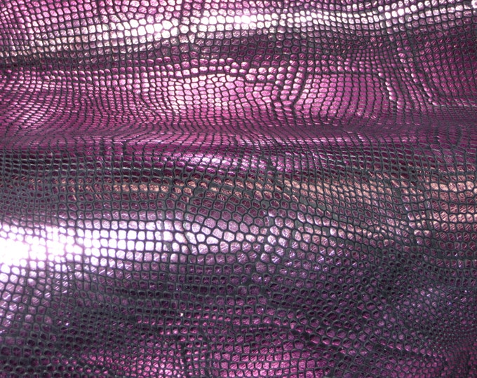 """Leather 12""""x12"""" Metallic Diamond Python PASSION PINK on BLACK embossed Cowhide 2.75-3 oz /1.1-1.2 mm PeggySueAlso™ E8140-02"""