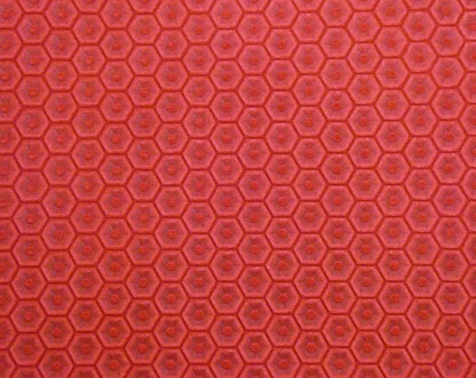 "Leather 8""x10"" HONEYCOMB Italian SCARLET RED Cowhide 3 oz / 1.2 mm PeggySueAlso™ E3173-05 hides available"