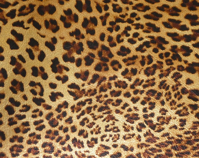 "Metallic Leather 12""x20"" GOLD METALLIC Banana Leopard / Cheetah on Sandy Brown Cowhide 3.25oz/1.3mm PeggySueAlso™ E2550-01A Hides Available"