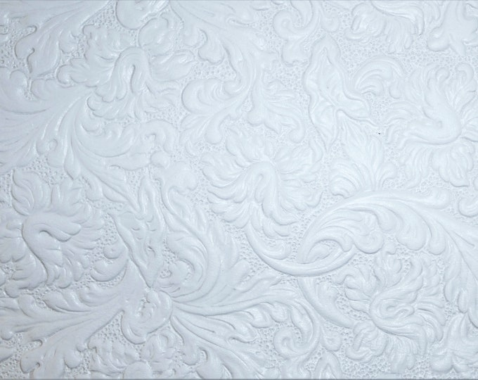 """Leather 5""""x11"""" Western SADDLE Pattern Bright WHITE Soft Embossed Cowhide 2.5 oz / 1 mm PeggySueAlso™ E2816-13"""