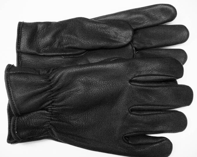 MeNS UNLINED Motorcycle GLOVES #700 Black Genuine Goatskin Full Grain Aniline Leather Riding / Driving Made in the USA by North Star Glove