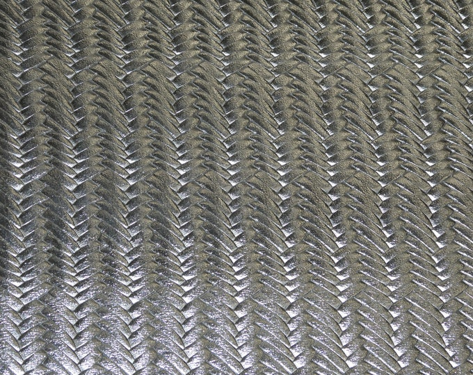 """Metallic Leather 8""""x10"""" Braided ITALIAN Fishtail SILVER Metallic Cowhide 2-2.5oz /0.8-1mm PeggySueAlso™ E3160-23  hides available"""