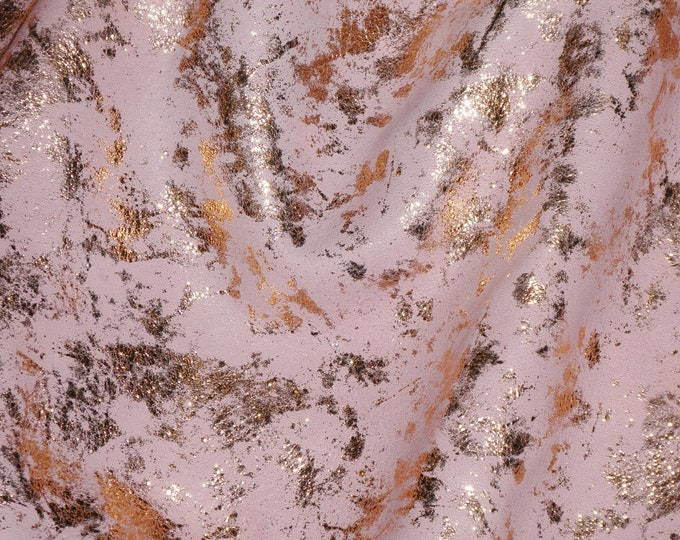 "Metallic Leather 20""x20""  ROSE Gold  SPLASH on BABY Pink Full Grain Cowhide 2.75-3 oz / 1.1-1.2 mm PeggySueAlso™ E7050-02 hides available"