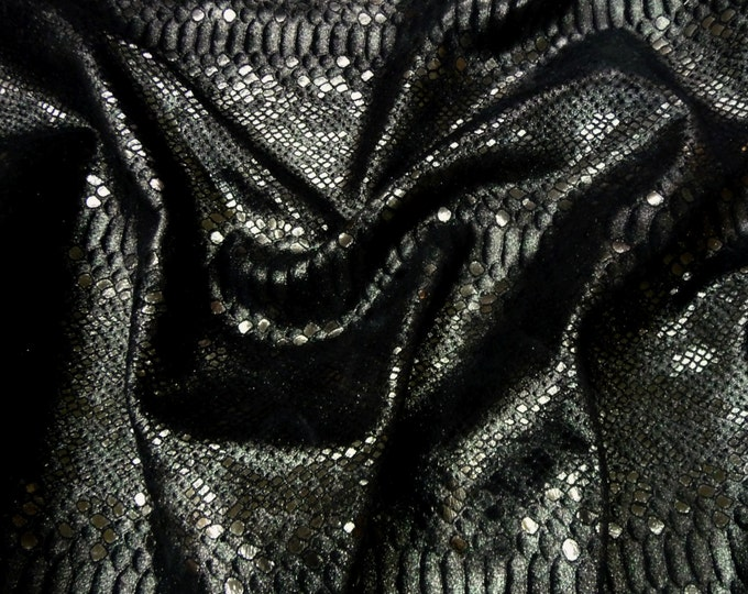 "Metallic Leather 12""x20"" + Mystic Python ANTHRACITE on BLACK Cowhide 3-3.5 oz / 1.2-1.4 mm PeggySueAlso™ E2868-39 Full hides available"