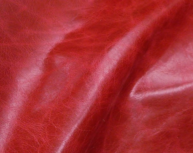 "Leather 12""x12""  RIVIERA Pull Up effect CRIMSON Dark Red Distressed Aniline Dyed Cowhide 3oz/1.2mm PeggySueAlso™ E2932-12 hides too"