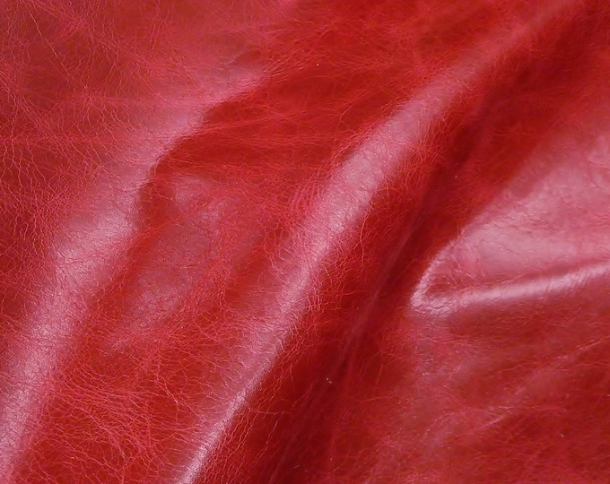 """Leather 12""""x12"""" RIVIERA Pull Up effect CRIMSON Dark Red Distressed Aniline Dyed Cowhide 3oz/1.2mm PeggySueAlso™ E2932-12 hides too"""