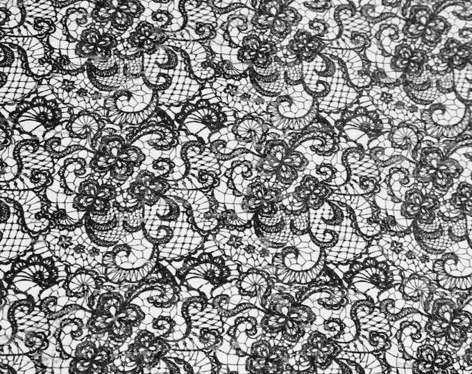 """CoRK Version 8""""x10"""" BLACK LACE LooK on WHITE Cork applied to Leather for body/strength Thick 5.5oz/2.2mm E5610-256"""