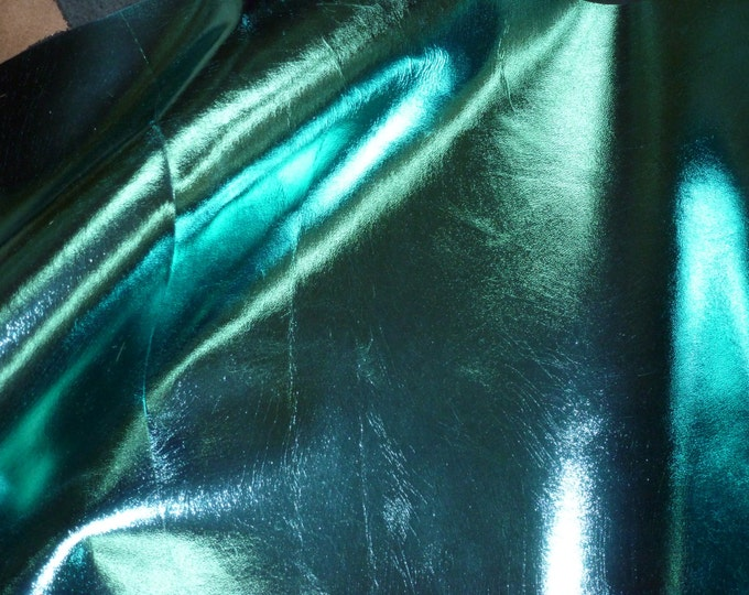 "Metallic Leather 12""x12"" Smooth Metallic TURQUOISE Foil Cowhide 3-3.5 oz / 1.2-1.4mm PeggySueAlso™ E2845-10"