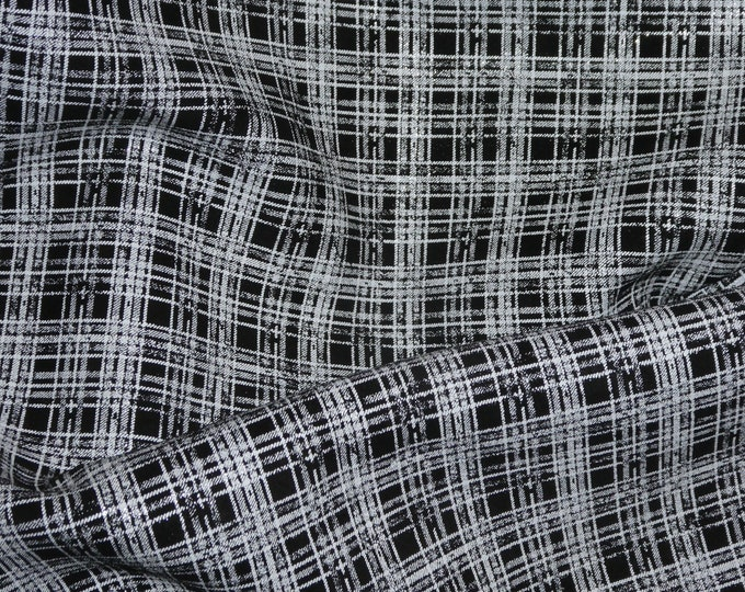 Leather 3-4-5 or 6 sq ft PLAID - WHITE on Black SUEDE Cowhide 3-3.25 oz / 1.2-1.3 mm PeggySueAlso™ E6529-04 Hides available