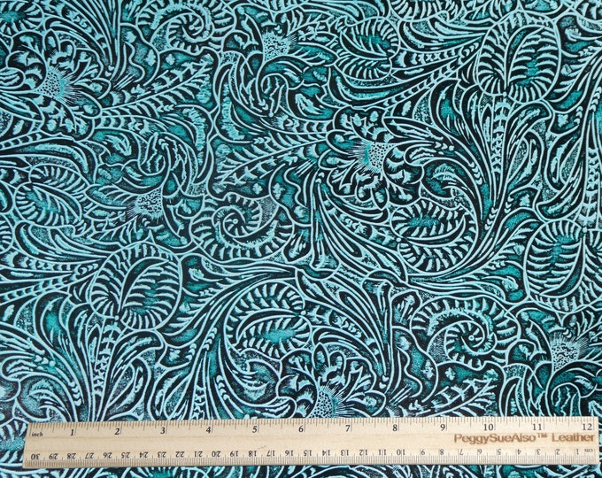 Leather 3 sq ft or MORE Western Tooled Floral and Leaf AQUA MARINE Embossed Cowhide 3.5-4 oz/ 1.4-1.6 mm PeggySueAlso™ E2838-04