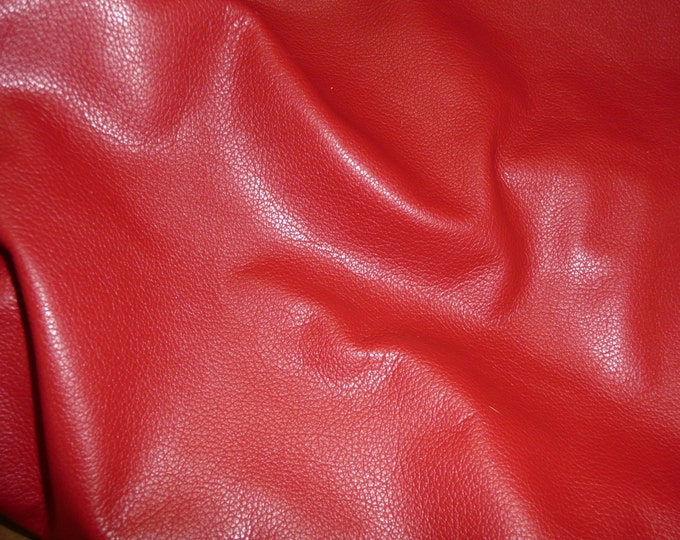 Leather 5 sq ft DIVINE Bright Red top grain Cowhide 2-2.5 oz / 0.8-1 mm Hides available PeggySueAlso™ E2885-22