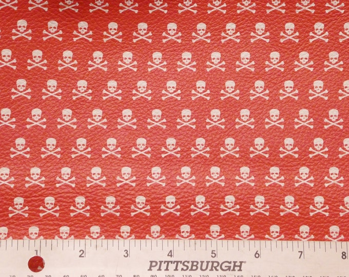 Halloween Leather 3 sq ft SKULLS and Crossbones on RED Cowhide 2.75-3 oz/1.1-1.2 mm PeggySueAlso™ E4601-09