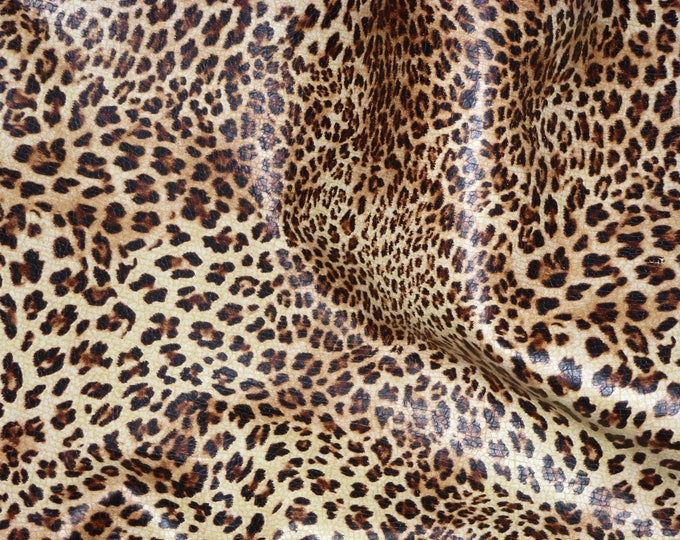 Leather 3-4-5 or 6 sq ft Original SOFT Banana Leopard Print on BANANA YELLOW grain Cowhide 2.5-3 oz / 1-1.2 mm PeggySueAlso™ E2550-01