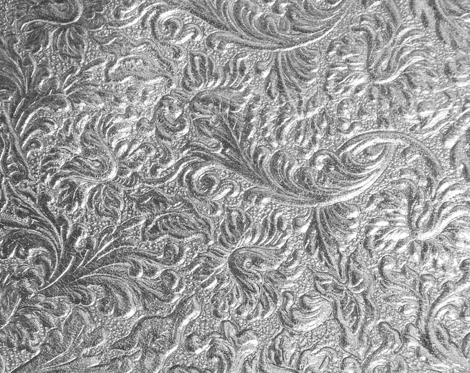 "Metallic Leather 8""x10"" Western SADDLE pattern SILVER embossed SOFT Cowhide fairly thin 2 oz/0.8 mm PeggySueAlso™ E2816-08"